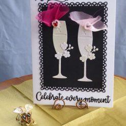 Bride & Bride Champagne Flute, LGBT Wedding Card