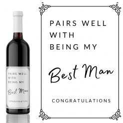 Pairs well with Being my Best Man Wine Label - add you own custom message from Kanwish Designs