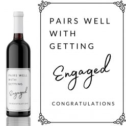 Pairs well with Getting Engaged Wine Label - add you own custom message from Kanwish Designs