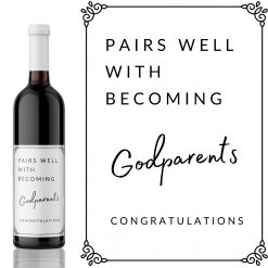 Pairs well with becoming Godparents Wine Label - add you own custom message from Kanwish Designs