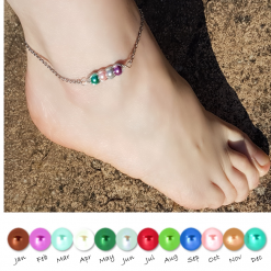 -Birthstone Family- Peas in Pod Anklet| Personalised Birthday Christmas Mothers Mother's Day Valentine Anniversary Easter Pea Jewellery Gift Ideas | Charming Gifts (Copy)