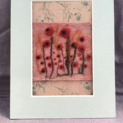 Poppies : Needle felted art in card frame. Free Postage UK