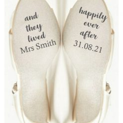 Wedding Shoe Sticker, personalised with name and date, and they lived happily ever after