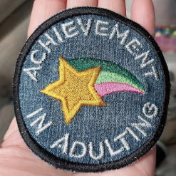 Achievement in Adulting – merit patch / badge on recycled denim