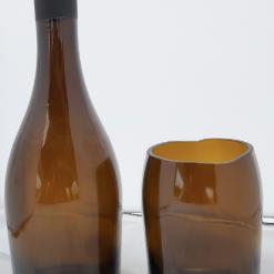 Unique rustic recycled wine bottle vase