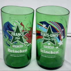 Unique pair of drinking glasses – hand cut from beer bottles