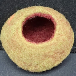 Rustic felted bowl Green & burnt umber in pure wool
