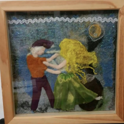 Dancers – Mixed Media, needle felted wall art