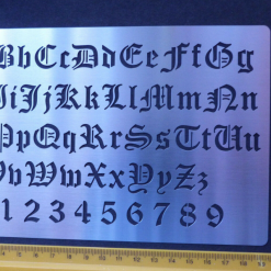 Stainless Steel Stencil/Template Old English Alphabet Numbers Emboss
