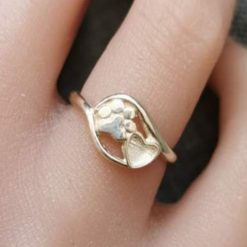 Paw & heart ring memorial cremation jewellery