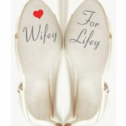 Wifey for Lifey Wedding Shoe Stickers with Heart, Wedding Shoe Sticker