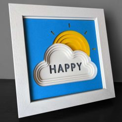 Happy Sun & cloud layered papercut picture (small)