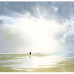 A4 size very limited edition print from an original watercolour painting 'Sunburst', couple on beach