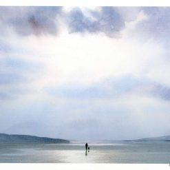 Very limited edition A4 print from an original watercolour painting 'Sunshine On A Rainy Day', figure and dog on beach