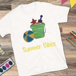 Girls White T-Shirt Summer Vibes Design