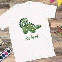 Boys White T-Shirt with Dinosaur Design