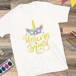 White T-shirt Unicorn Squad Design