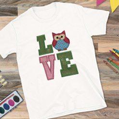 Girls White T-Shirt Love Owl Design