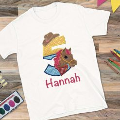 Girls White T-shirt Age with horse design (2 - 9yrs only).