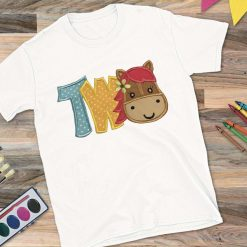Girls White T-shirt Age Two with Horse Design