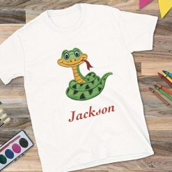 Boys White T-Shirt with Snake and Name