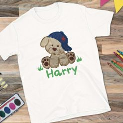Boys White T-Shirt with Puppy and Name