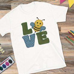 Girls White T-Shirt Love Bee Design
