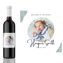 Baby welcome to the World New Born gift wine Label from Kanwish Designs