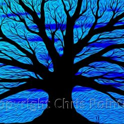 Tree Art Print, Blue Oak, From Acrylic Painting, A4 Size by Cornish Artist, Free UK Postage