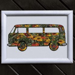 Camper Van Art Print, Satin Finish Photo, Flower Power, A4 Size by Cornish Artist, Free UK Postage