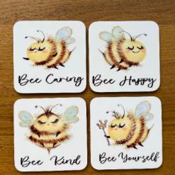 Bee Coasters, Bee Coaster, Coffee Coasters, Coaster Gift, Set Of 4 Coasters, Gift For Her, Gift For A Friend, Cute Coasters