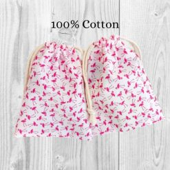 Flamingo Cotton Gift Bag, Fun Animal Print Bags for Gifts, Cute Gift Wrapping, Eco Friendly Favour Bags