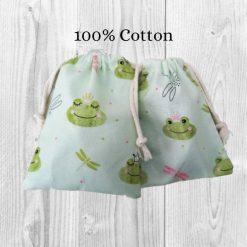 Frog Cotton Gift Bag, 100% Cotton Drawstring Bag, Cute Gift Bags