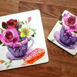 Cake n a cuppa. Decoupage n hand painted coaster set.