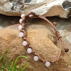 Gemstone bracelet with rose quartz beads