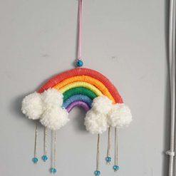 Small Rainbow with pom pom clouds