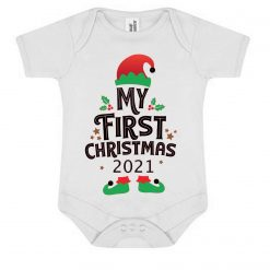 My First Christmas 2021.....Personalise With Babys Name On The Back...On White Baby Bodysuit