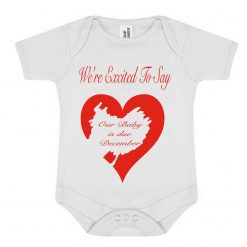 We're Excited To Say.... Our Baby Is Due...Personalise With Your Own Due Month...Red Scratched Heart Reveal On White Baby Bodysuit