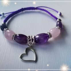 Natural Amethyst and Rose Quartz Nuggets Braided Bracelet with Heart Charm