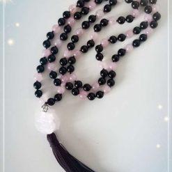 Black Obsidian and Rose Quartz Mala Necklace