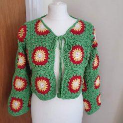 Hand Crochet Sun Flower Cardigan