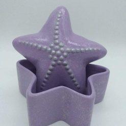 Hand painted ceramic starfish trinket pot (lilac)