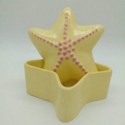 Hand painted ceramic starfish trinket pot (yellow)