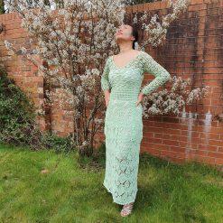 Hand Crochet Long Sleeve Maxi Dress
