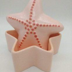 Hand painted ceramic starfish trinket pot (peach)