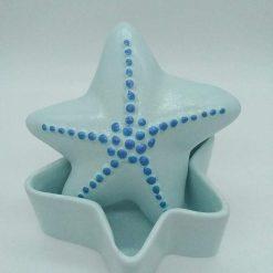 Hand painted ceramic starfish trinket pot (blue)