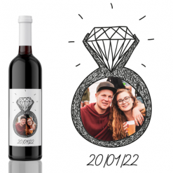 Save the Date Engaged! Photo Engagement Wine Label Gift from Kanwish Designs