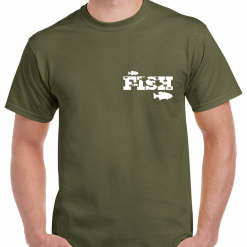 Small Fish Logo - Carp Fishing Green Or Black T-Shirt With Heat Press Logo -  Ideal Gift For Any Fisherman