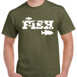 Large Fish Logo - Carp Fishing Green Or Black T-Shirt With Large Heat Press Logo -  Ideal Gift For Any Fisherman