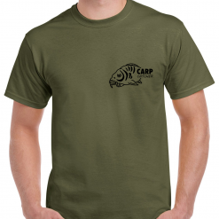 Small Carp Fish With Carp Catcher Text - Carp Fishing Green Or Black T-Shirt With Heat Press Logo -  Ideal Gift For Any Fisherman